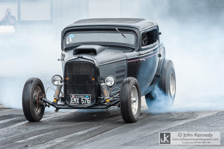 A 1930's Ford Coupe Drag racing car at Santapod Raceway Bedfordshire England UK