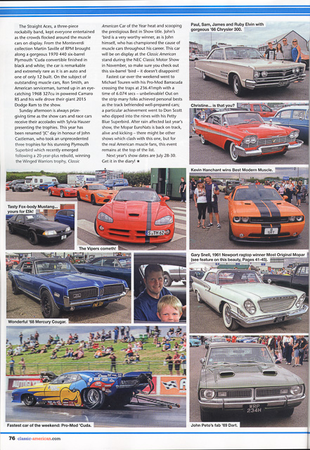 Classic American Magazine - number 306 October 2016 Cover - Editorial piece Mopar Euro Nationals - page 4